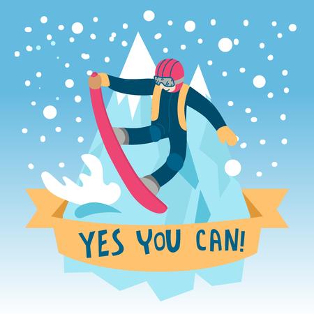 vector illustration winter activities. hello winter Stock Illustratie