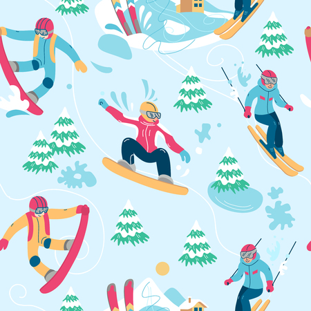 vector illustration winter activities. hello winter Ilustrace