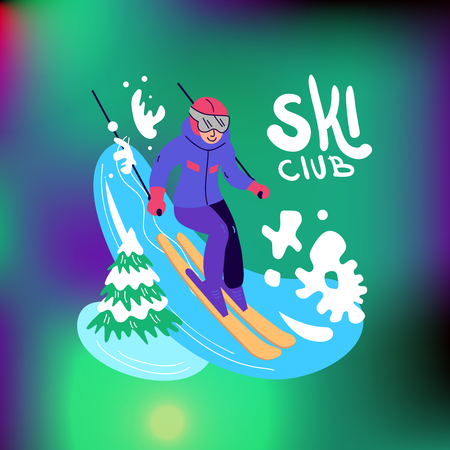 Beautiful flat vector illustration winter sport activites. Skiing. Banque d'images - 127237315