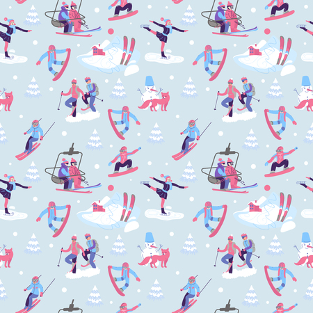 Beautiful vector seamless pattern with ski, snowboarding, snowsh