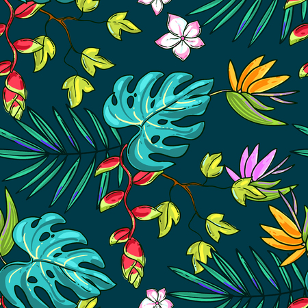 Hand drawn beautiful seamless pattern world tropics. Perphect for textileend etc. Secondary pattern of collection.