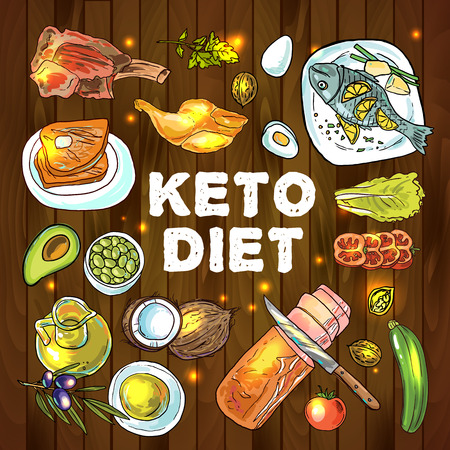 Hand drawn vector illustration KetoDiet nutrition and