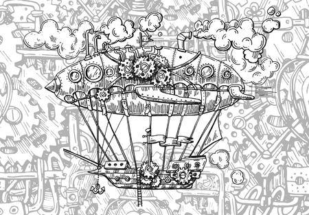 Aerei d'epoca illustrazione schizzo vettoriale disegnato a mano. Stile steampunk. Disegno meccanico.