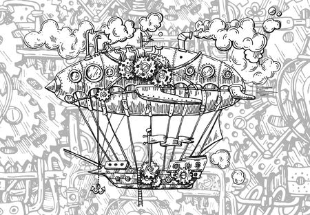 Hand drawn vector sketch illustration vintage aircraft. Steampunk style. Mechanical drawing.
