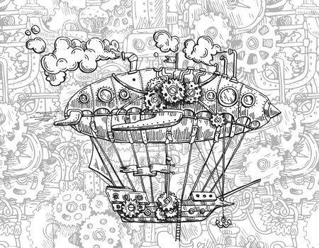 Aerei dell'annata dell'illustrazione di schizzo di vettore disegnato a mano. Vettoriali
