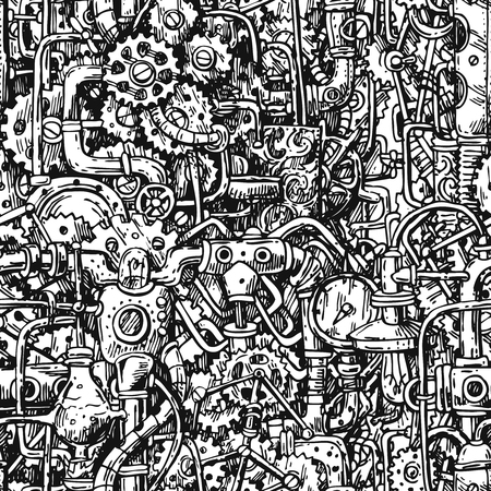 Steampunk style hand drawn vector mechanism. Old mechanical background. Vetores