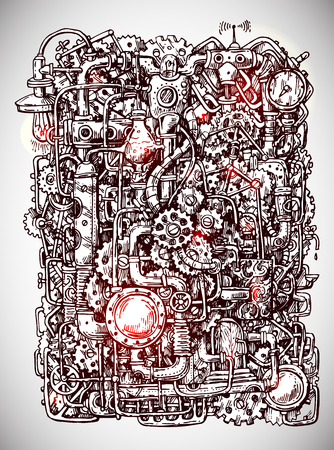 Steampunk style hand drawn vector mechanism. Old mechanical background.