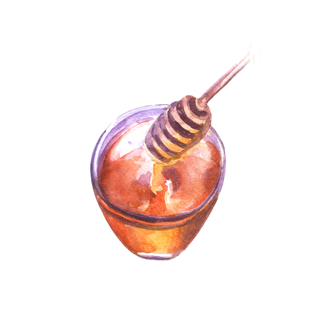 Hand drawn watercolor illustration honey. Beautiful painted pictures Banque d'images