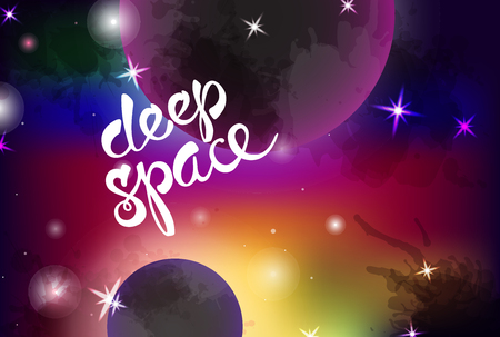 space background with 2 planets. Good for design of yoga mat and clothes.