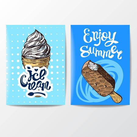 Ice cream sketch style vector illustration. Hand drawn poster.