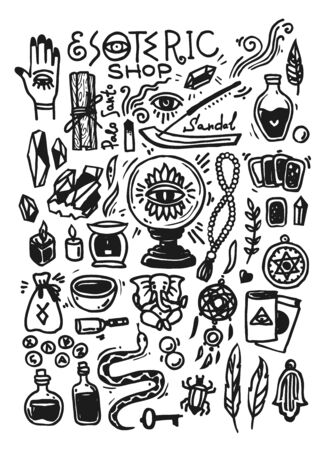 Esoteric shop doodles collection. Illustration with hand drawn magic elements. Doodle style.