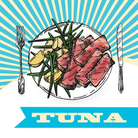 Tuna sketch vector illustration. Hand drawn set of pictures with fish. Food illustration for menu of care.  イラスト・ベクター素材