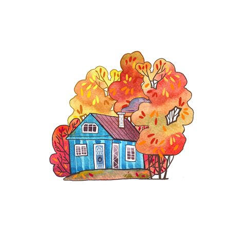 Autumn watercolor element. Cartoon style. Hello autumn.