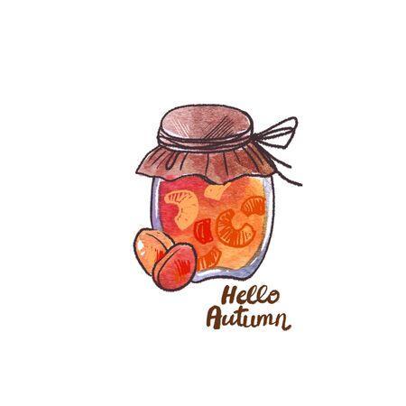 Autumn watercolor element. Cartoon style. Hello autumn.