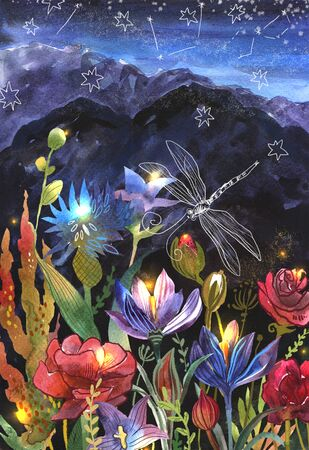 Night watercolor landscape with mountains and flowers. Hand drawn magic style illustration.