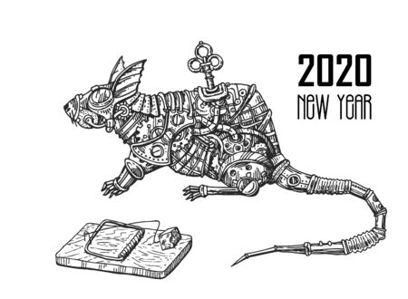 Mechanical rat. Hand drawn steampunk style vector illustration.
