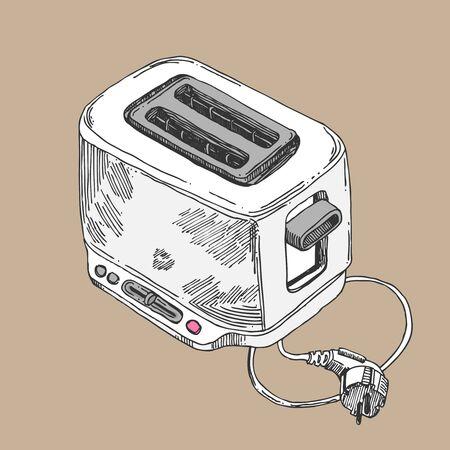 Toaster sketch vector illustration. hand drawn