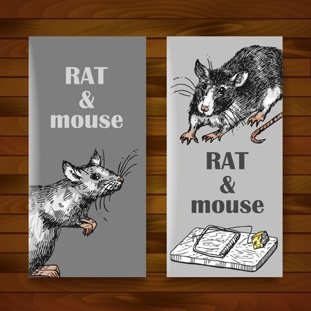 Rat sketch vector illustrations. Hand drawn picture with mouse. Symbol of 2020 new year.