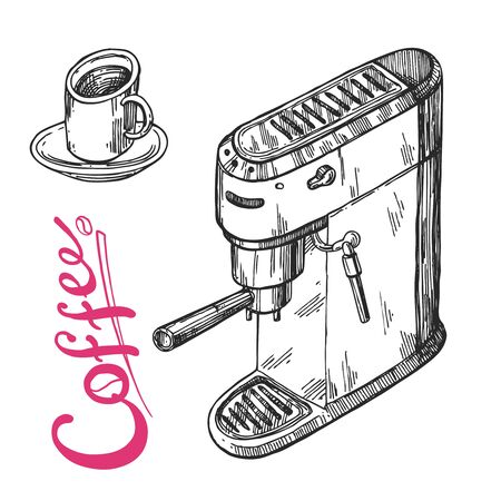 Coffee machine sketch. Hand drawn vector illustration 向量圖像