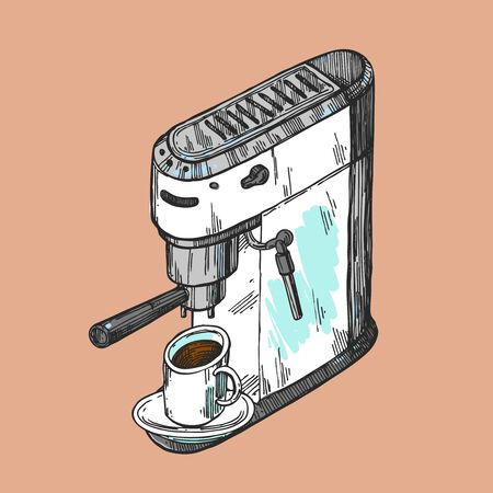Coffee machine sketch. Hand drawn vector illustration Illustration