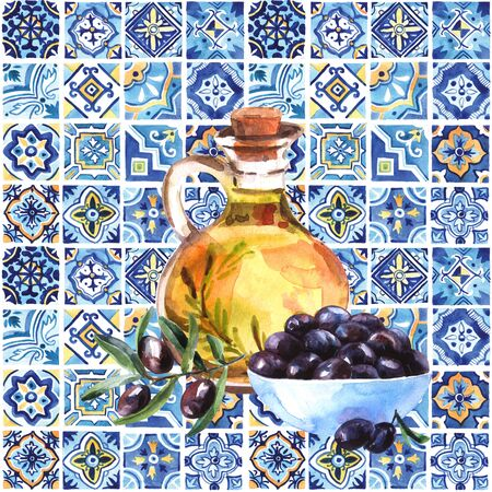 Hand drawn beautiful watercolor illustration olive oil.