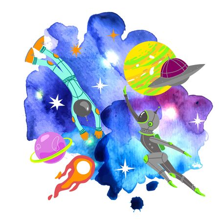 Space vector illustration. Space Galaxy n print could be used for textile,  yoga mat, phone case, t-shirt, etc Çizim