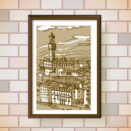 Florence sketch vector illustration. Suitable for Italian souvenirs, print for t-shirts, phone cases.