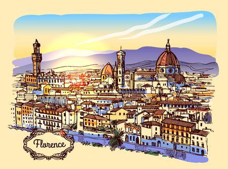 Illustrazione vettoriale di schizzo di Firenze. Adatto per souvenir italiani, stampa per t-shirt, custodie per telefoni.