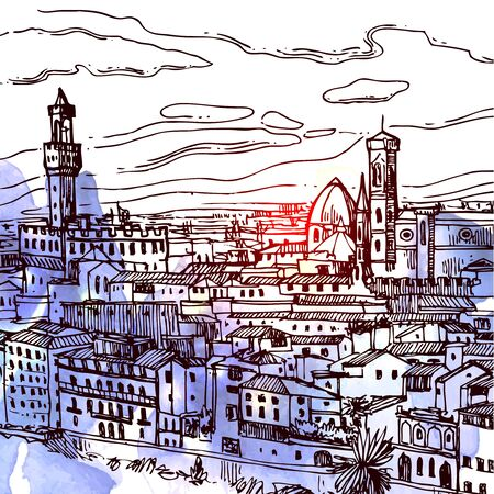 Florence sketch vector illustration. Suitable for Italian souvenirs, print for t-shirts, phone cases, postcards. 免版税图像 - 132980070
