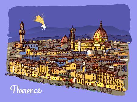 Illustrazione vettoriale di schizzo di Firenze. Adatto per souvenir italiani, stampa per t-shirt, custodie per telefoni, cartoline. Vettoriali