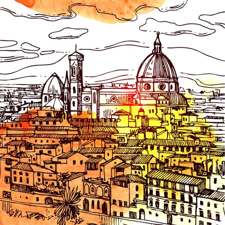 Florence sketch vector illustration. Suitable for Italian souvenirs, print for t-shirts, phone cases, postcards.