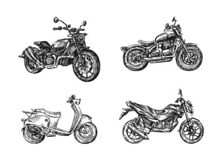Motorcycle sketch vector illustration. Hand drawn style picture