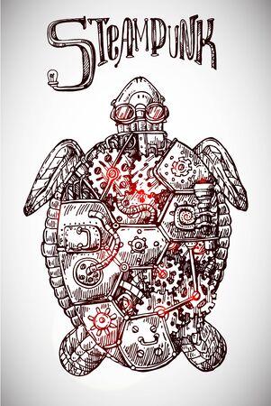 Tortuga mecánica. Dibujado a mano ilustración vectorial steampunk