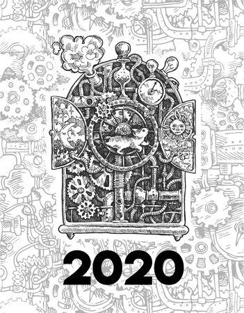 Steampunk mouse. Symbol of 2020 year. Beautiful hand drawn sketch steampunk mechanism. Stok Fotoğraf - 138441834
