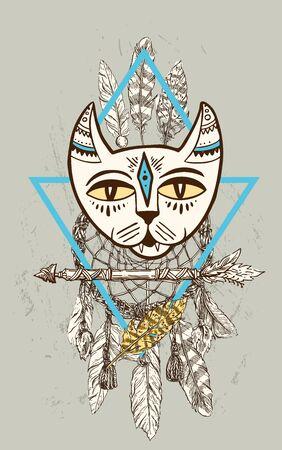 Vector hand drawn illustration head of cat. Boho style poster. Zdjęcie Seryjne - 138441841