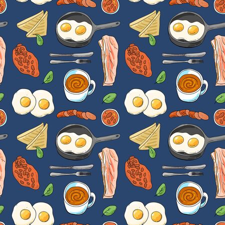 Full English breakfast. Beautiful hand drawn vector food illustration.