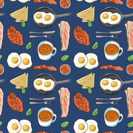 Full English breakfast. Beautiful hand drawn vector food illustration.