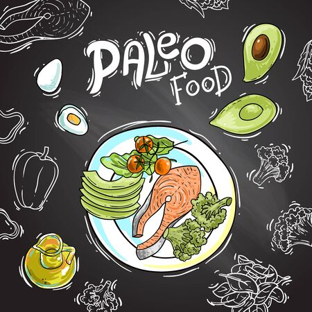 Paleo food illustration. Hand drawn vector picture with ketogenic diet products.