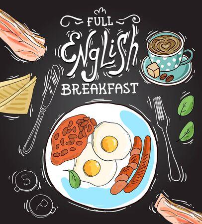 Full English breakfast. Beautiful hand drawn vector food illustration. Sketch style. Illustration