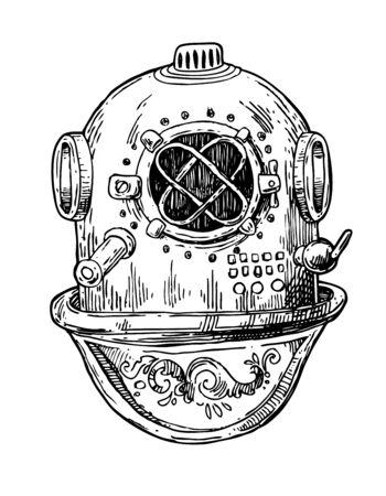 Old vintage diving helmet. Hand drawn vector illustration. Sketch style.