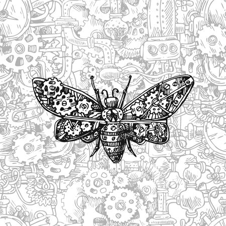Mechanical insect. Hand drawn beautiful vector illustration. Illustration