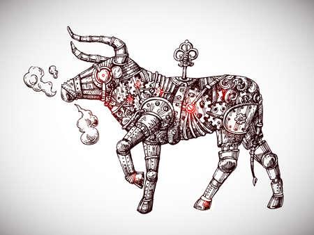 Mechanical bull. Hand drawn vector steampunk animal. Symbol of 2021 eyar.