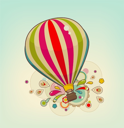 Colorful air balloon in the sky with patterns Illustration