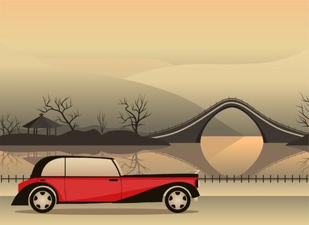 rode retro auto tegen een Japanse landschap Stock Illustratie