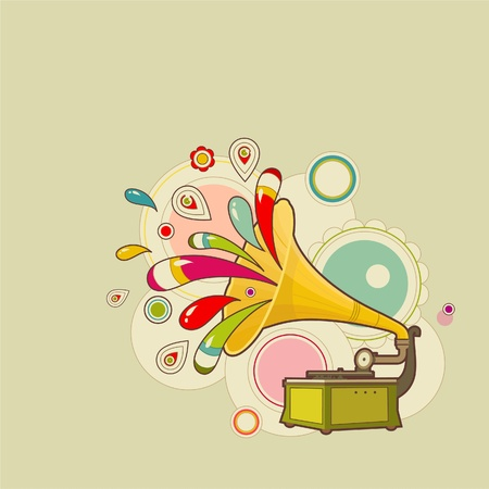 Colorful gramophone with patterns Illustration