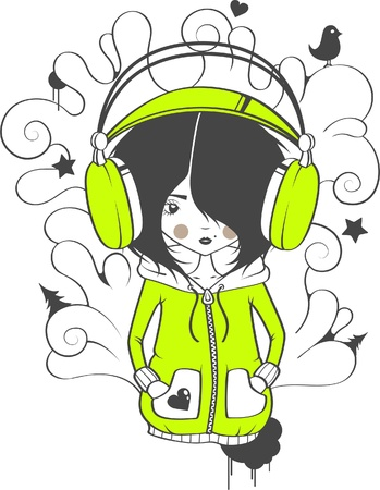 The girl in earphones with patterns Vector