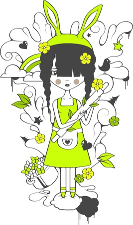 The lovely housewife in the hare ears holds rolling pin with flowers