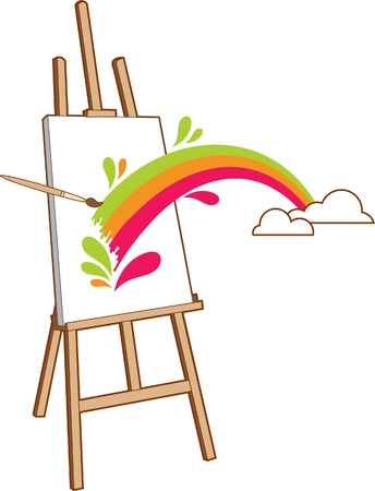 The rainbow drawn on an easel turns to be real Stock Vector - 9875196