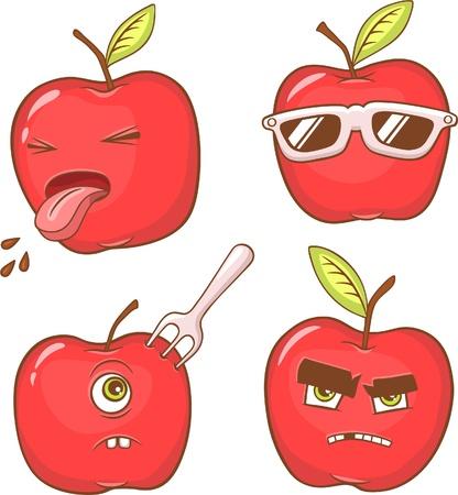 vier rode appels met verschillende emoties en gezichten