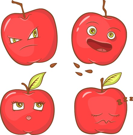 four red apples with diffrent emotions and faces